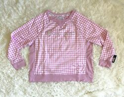 Champion Plus Women#x27;s Campus French Terry Crew Sweatshirt Pink Gingham Sz 1XL $39.99