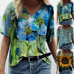 US Womens Floral Print T shirt Ladies Short Sleeve Blouse Loose Casual Tops Tee $13.69