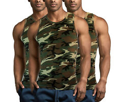 100% Premium Cotton A Shirt Ribbed Military Army Camouflage Men TANK TOPS Pack $9.49