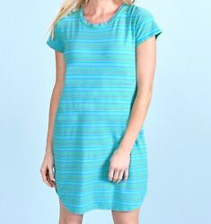 FRESH PRODUCE Small Luna BLUE Promenade STRIPE Modal KYLIE Dress $72 NWT New S
