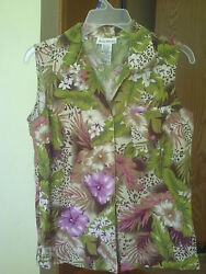 WOMEN RENE MARGO FLORAL SLEEVE LESS BLOUSE M $4.99
