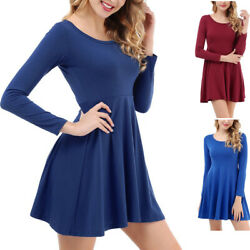 Women#x27;s Long Sleeve A line and Flare Short Dress Solid Color Draped Skirt g8 $6.79
