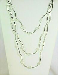 Vintage glass multi strand chained necklace 22quot; silver tone $5.99