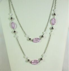 Vintage glass multi strand chained necklace 18quot; silver tone $5.99