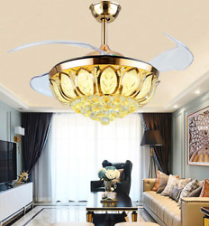 42quot; Crystal Ceiling Fan Lamp Invisible LED Chandelier with 3 Color Light remote $176.69