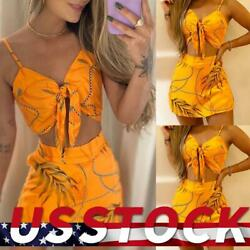 Womens Sexy Boho Bodycon Deep V Neck Tie Front Crop Tank Top Mini Skirts Outfits $9.49