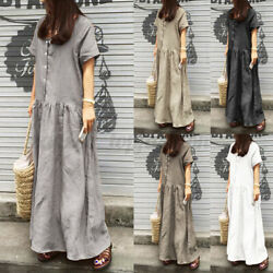 Women Short Sleeve Maxi Dress V neck Long Dress Casual Holiday Loose Beach Dress $17.47