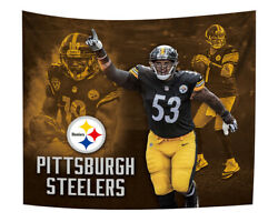 Pittsburgh Steelers Tapestry Wall Hanging Cover Home Decoration Player 50quot; x 60quot; $10.95