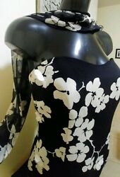 Women Dress sz  M 8 **black white floral**cocktail**party**formal fashion sexy  $10.95