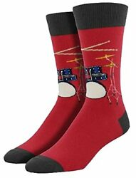 Socksmith Drum Set Solo Novelty Socks red blue drums cymbals sticks cotton blend $9.99
