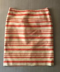 Talbots Linen Pencil Skirt In Orange and Tan Stripes Size 8 $14.00