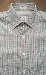 Peter Millar Mens Dress Button Shirt Red Green Blue Shepherds Check Medium M $24.99