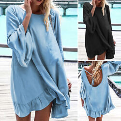 US Women Evening Long Sleeve Solid Baggy Mini Dress Casual Pleated Long Dresses $18.99