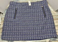 Plus Size 18 Skirt Short With Pockets NEW By The Loft Blue Patterned $32.00