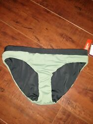 Zellla Womens Reversible Bikini Bottom Swim Olive Green amp; Black Sz XS New $17.50