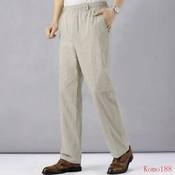 New Mens High Waist Trausers Clothing Linen Loose Elastic Wide Legs Pants $30.52
