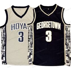 Allen Iverson #3 Georgetown Hoyas College Basketball Jersey Men#x27;s Sewn Gray Blue
