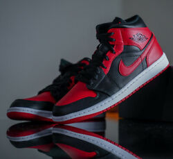 Nike Air Jordan 1 Mid Banned Black Red 554724 074 GS Men Size $149.99