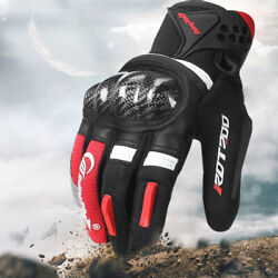 Motorcycle Gloves Hard Knuckle Men Breathbale Carbon Fiber Touch Screen Gloves $22.96