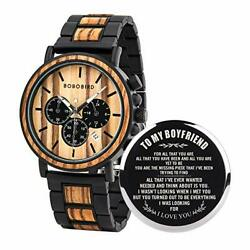 BOBO BIRD Mens Personalized Engraved Wooden Watche Stylish Wood amp; Stainless Ste $66.14