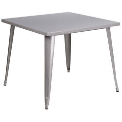Flash Furniture 35 1 2in. Square Metal Cafe Table Silver Model# CH5105029SIL $149.99