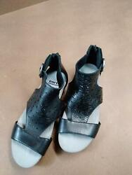Earth Leather Sandals Linden Lebanon Black Womens Size 7M $28.98