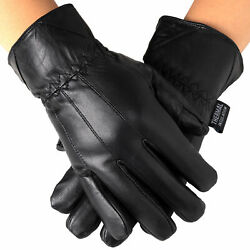 Alpine Swiss Mens Touch Screen Gloves Leather Thermal Lined Phone Texting Gloves $12.99