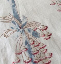 Antique French Tossed Floral Ribbon Cotton Fabric Blue Red $49.00