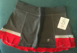Sofibella 12quot; Tennis Skort 1685 Steel Grey With Red Silver Ruffle amp; Red Short $29.99
