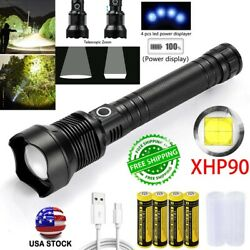 Brightest 990000LM XHP90 LED Flashlight Rechargeable 3Modes Zoom Torch Battery $22.98