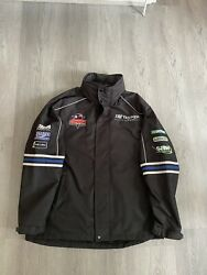 TAG TRIUMPH Motorcycle Racing Team Mens Black Hooded Jacket Coat Size Medium GBP 34.99