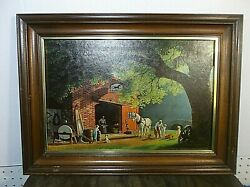 Vintage Paul Detlefsen Framed Art quot;Horse and Buggy Daysquot; 22 inches by 16 inches $65.00
