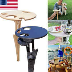 Outdoor Portable Foldable Wine Table Round Desktop Mini Wooden Easy To Carry US $9.99