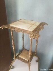 Vintage 19th Century Cast Iron Victorian Table 2 Tiers With Marble Top $899.00