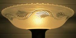 Vintage 16quot; Translucent Textured Glass Torchiere Lamp Shade w Clear Leafy Band $165.00