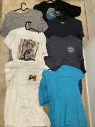 10 Designer Shirts mens t shirts lot Size Medium Quicksilver and more