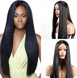 Straight Black Long For Woman Wigs Middle Part Natural Looking Synthetic Wigs US $17.85