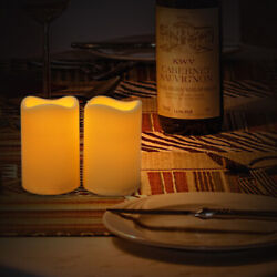 2PCS Indoor Outdoor Flameless Battery Operated Plastic Pillar Led Candle Light $8.99