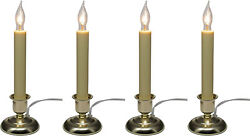 Electric Candle for Window with Steady Lighting Brass Painted Finish Pack of 4 $55.29