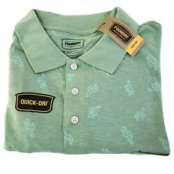 NEW Foundry Big And Tall 2XLT Mens Polo Shirt Cactus Print Short Sleeve Green $27.99
