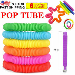 Novelty Place 6 Pack Pull amp; Pop Tube Sensory Fidget Pipe Toys For Kids Adults US $8.29