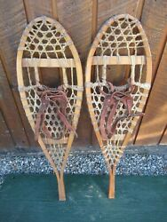 INTERESTING VINTAGE Snowshoes 37quot; Long x 10quot; with Leather Bindings DECORATIVE $44.99