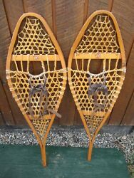 VINTAGE SNOWSHOES 47quot; Long x 14quot; Wide with Leather Bindings READY TO USE $59.77