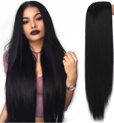 Black Long Straight Wig Heat Resistant Synthetic For Woman Wigs Heat Safe US