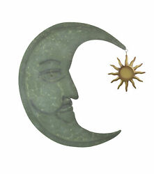 Weathered Verdigris Green Finish Metal Crescent Moon Wall Hanging With Sun Or $46.99