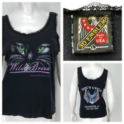 Vintage 3D Emblem Harley Davidson Lace Cat Tank Top Shirt Womens Large Faded $49.98