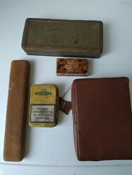 5 Vintage boxes different sizes. One is a leather jewellery case GBP 4.99