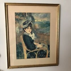 Vintage framed art print by Renoir 15 x 18 By the seashore . $31.00