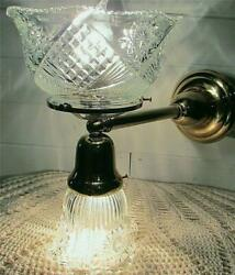 Vintage Reproduction Gas amp; Electric Brass Wall Sconce Matching Victorian Shades $195.00