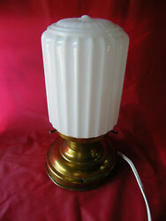 VINTAGE ART DECO FLUTED MILK GLASS CEILING FIXTURE OR LAMP $39.99